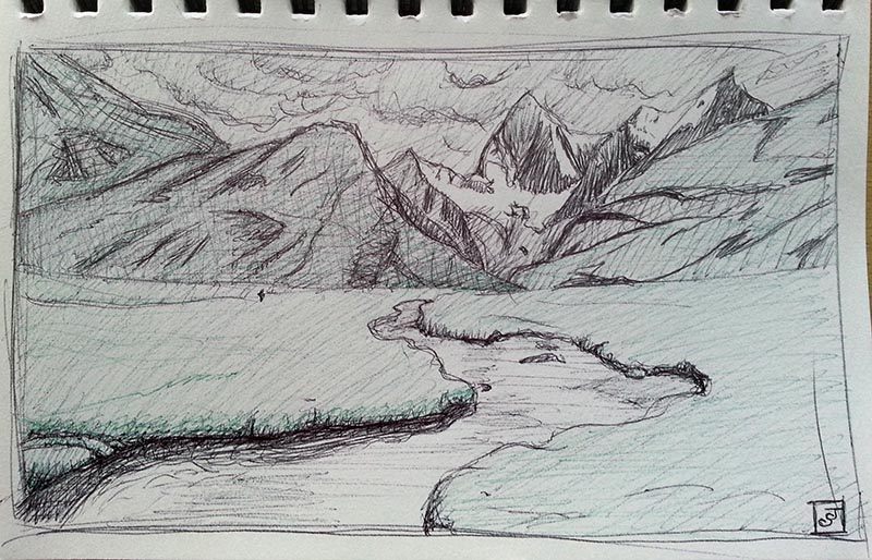 '21 Day Challenge - Landscapes - Day 18' - Pen
