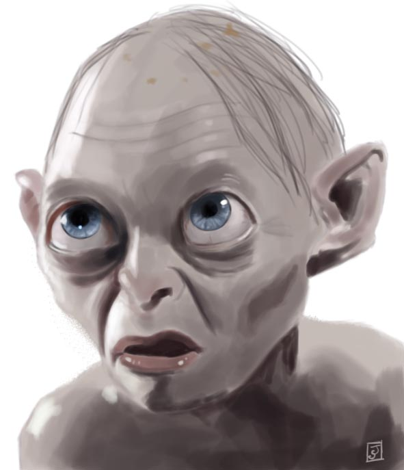 '10 Portrait Challenge 9 - Gollum' - Digital Painting