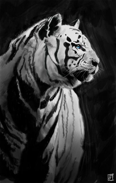 '10 Day Challenge - Animals Day 7 - White Tiger' - Digital Painting